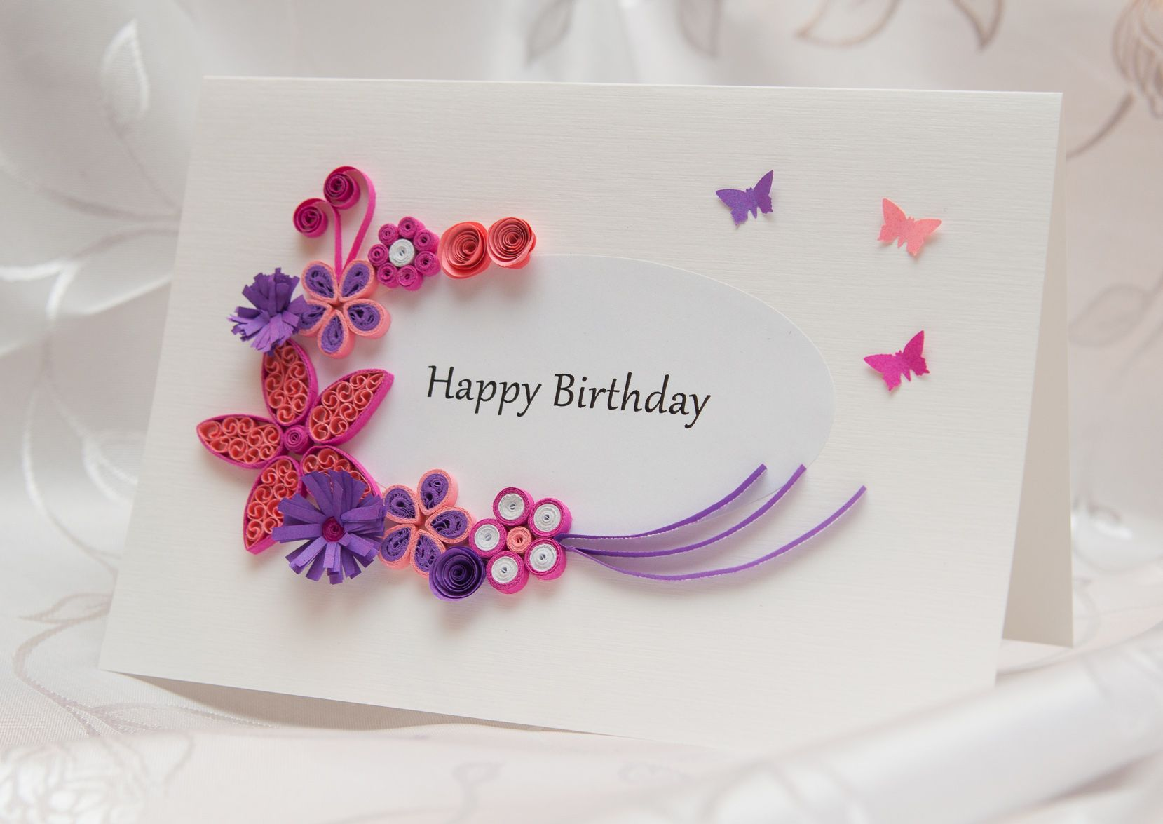 Birthday card with pink and purple flowers quilling kartka birthday card with pink and purple flowers quilling kartka urodzinowa w kolorze rowym i dhlflorist Gallery