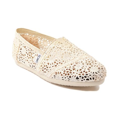 Lovely new slip-on where simple meets stylish, it's a TOMS Classic with a charming floral weave crochet upper for light and breezy comfort! Features the classic TOMS toes-stitch, elastic V for easy on-off, cushioned suede insole, latex arch insert, and durable one-piece outsole.