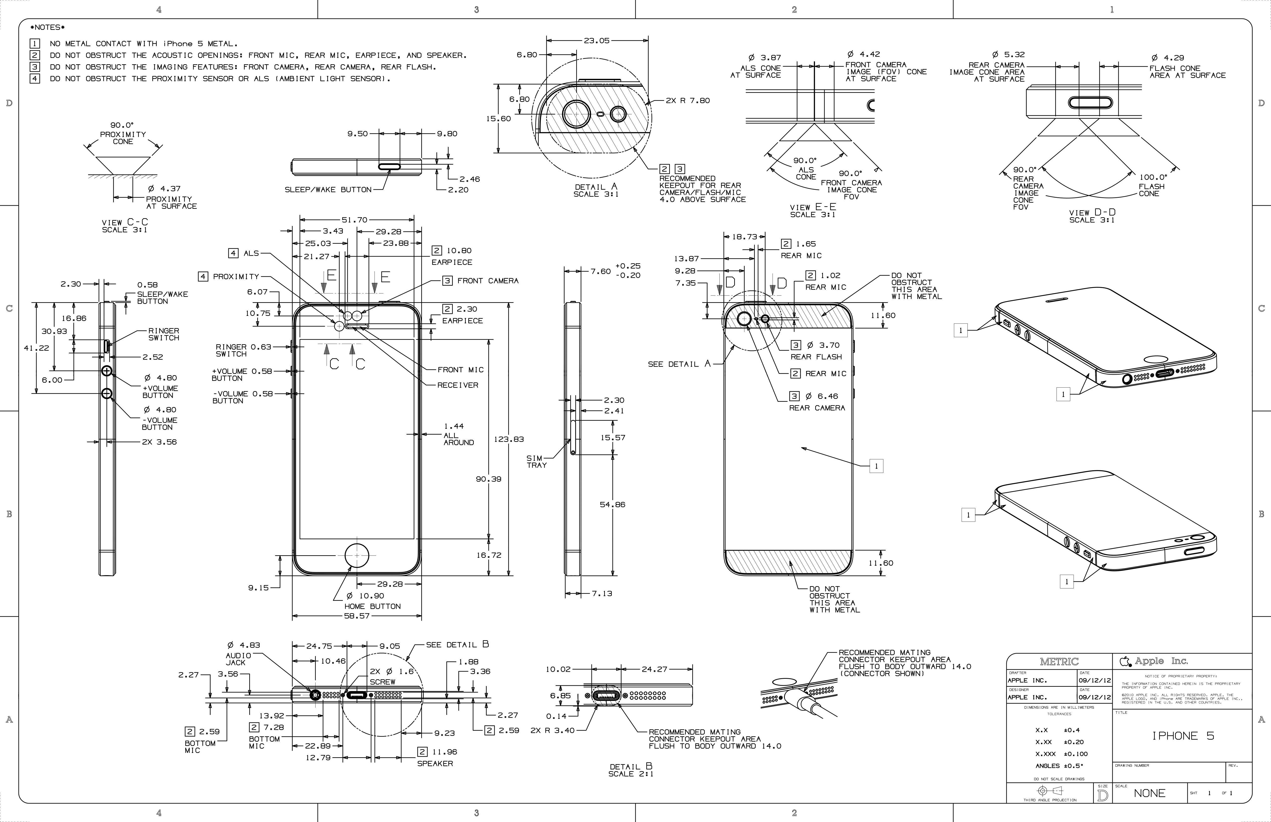 iPhone 5 schematics -- helpful for designing accessories/cases ...