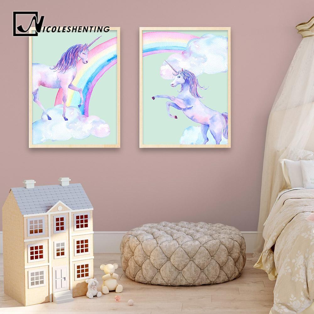 Children Room Decor Unicorn Pegasus Oil Painting Picture Printed On Canvas