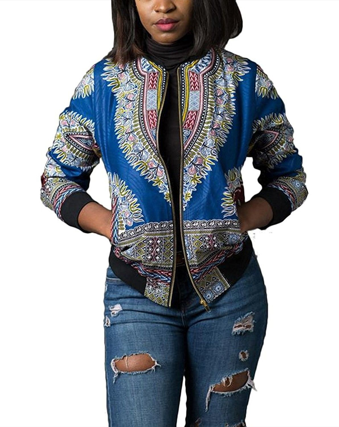 Women's African Tribal Print Short Dashiki Bomber Jacket