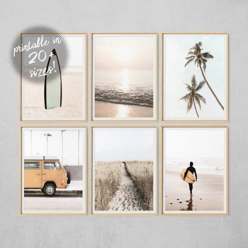Beach Wall Art Set Of 6 Prints Ocean Print Palm Tree Print