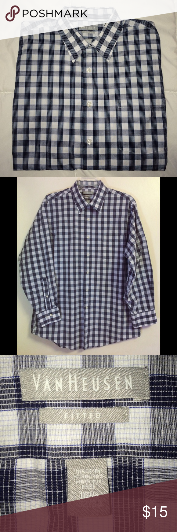 Men's Van Heusen Fitted Dress Shirt Men's Van Heusen Long Sleeve Button Up Dress Shirt. Plaid. Size 16.5 32/33. Fitted. Wrinkle Free Fabric. Perfect Condition. Van Heusen Shirts Dress Shirts
