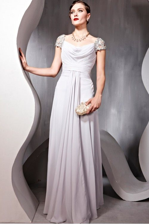 Glamorous Couture Grey Mandarin Neck Chiffon Evening Dress ...