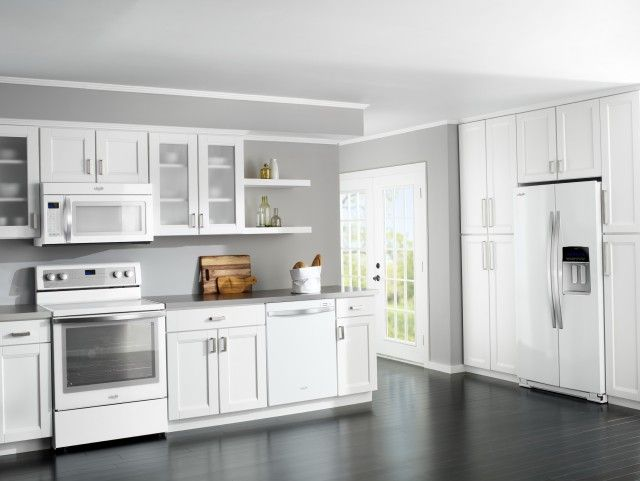 Delighful Painted White Kitchen Cabinets With Appliances Paint