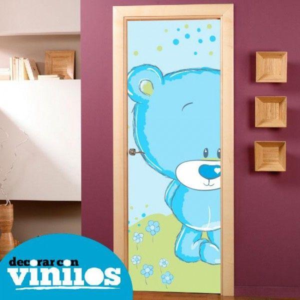 Puerta infantil osito azul puertas infantiles for Vinilos decorativos infantiles