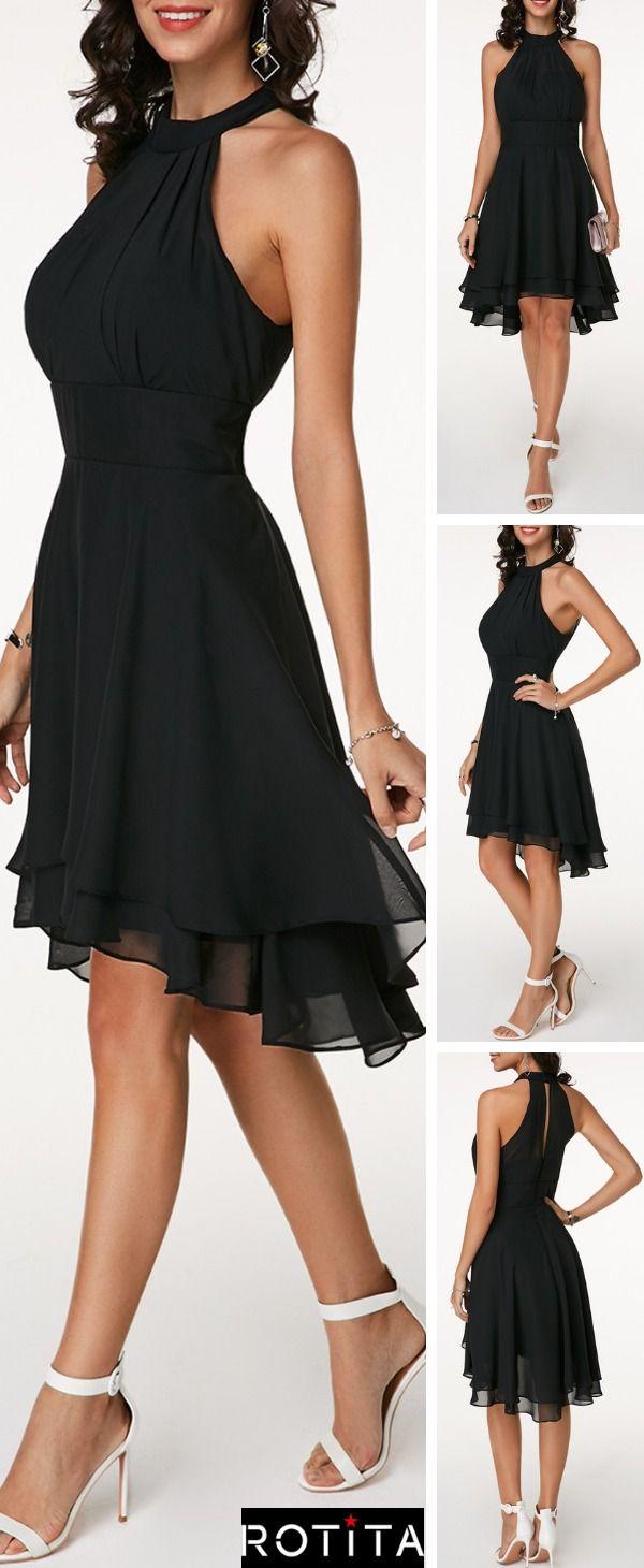 Cutout Back Black Layered Sleeveless Chiffon Dress  #blackdresscasual