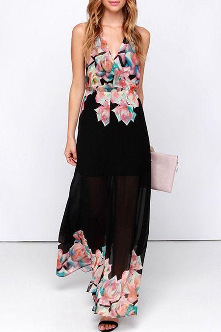 Halter Neck Backless Floral Print Slit Dress