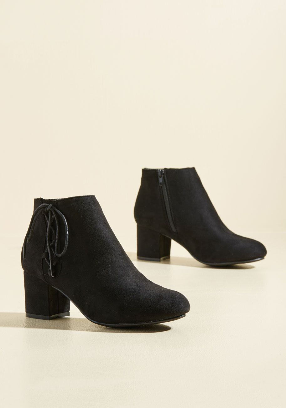 Pick of the Patch Bootie - Black, Solid, Work, Casual, Minimal, Fall, Winter, Good, Chunky heel, Ankle, Black, Black, Mid