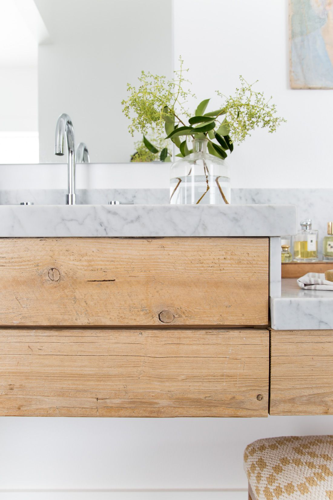 Grove House: Salvaged Wood & Marble Vanity | Pinterest | Marbles ...