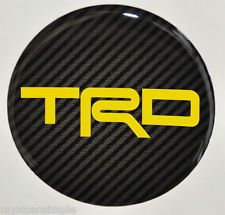 Scion FRS ,Toyota 86 ,  wheel  cap stickers ,Yellow TRD Carbon look emblems.