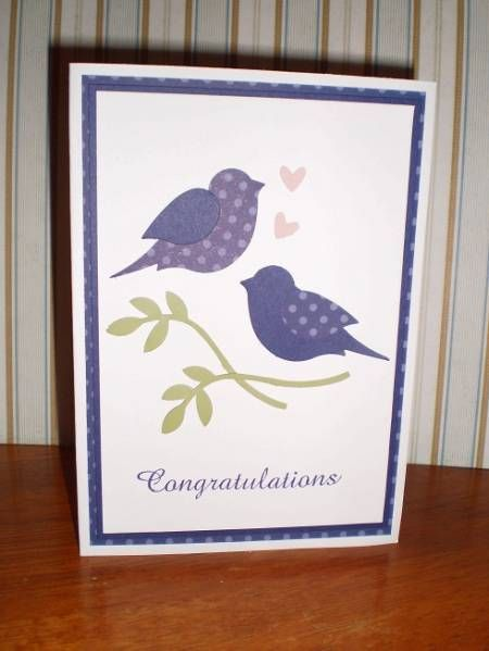 Wedding Card Using Two Step Bird Punch From StampinUp By Jessbetts