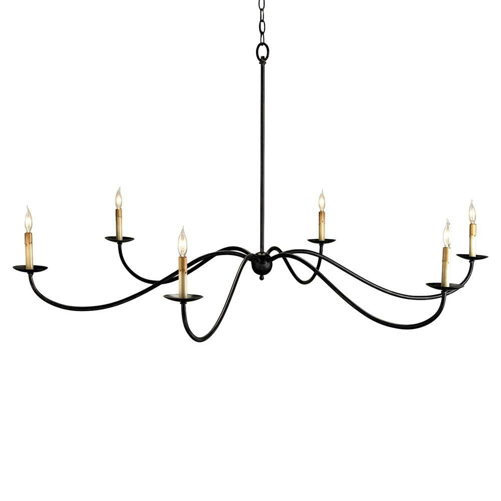 63 Inch Round Delicate Black Metal 6 Light Grand Chandelier Iron