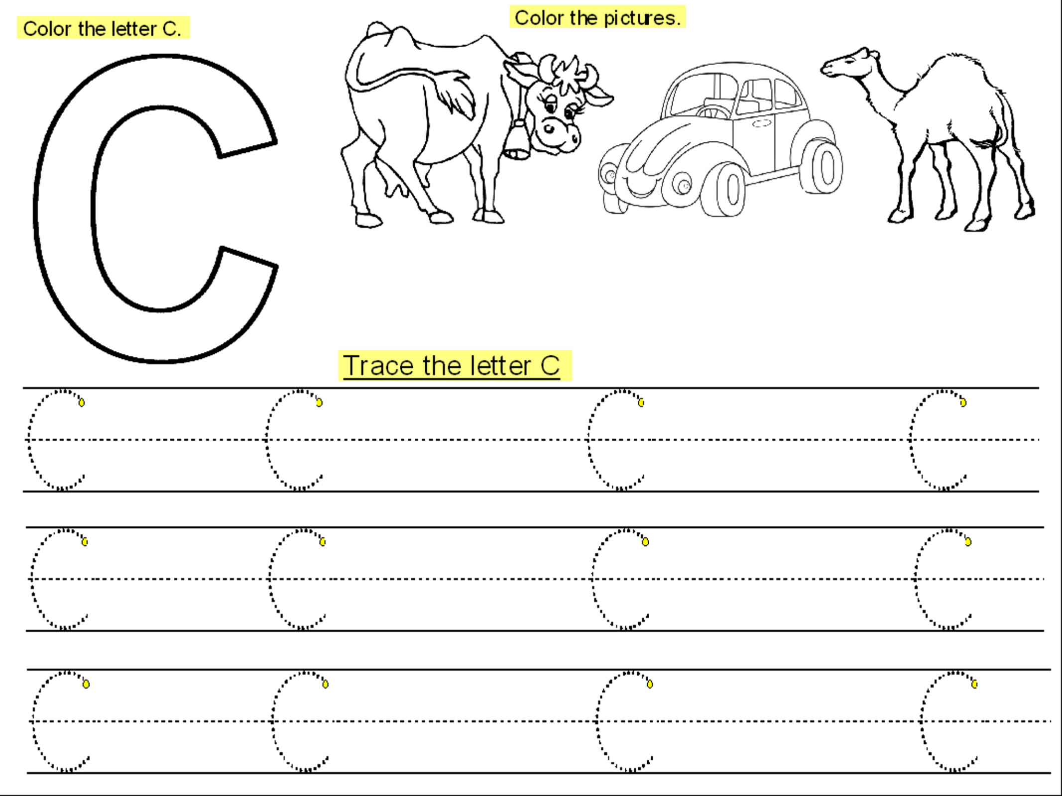 Trace The Letter C For The Cutie Handwriting