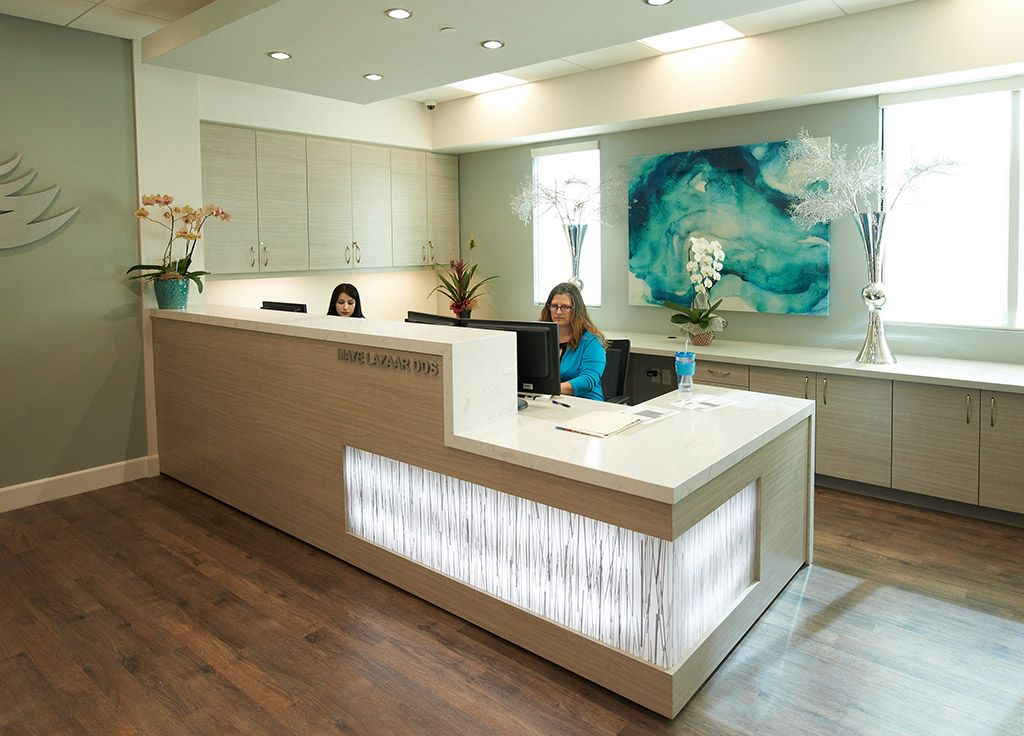 Reception area at smiles by design dentistry http www for Office reception design