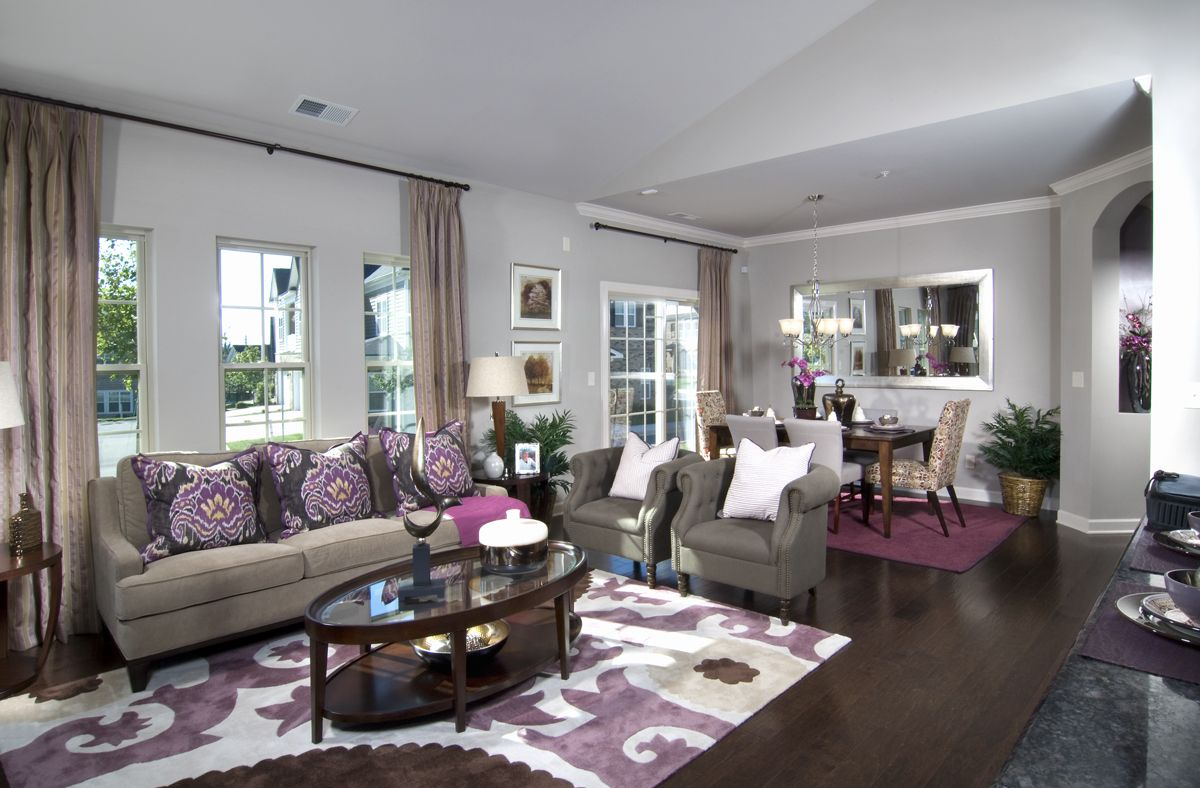 Purple accents in living and dining room | Home ...