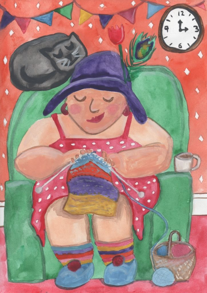 """Knitting Nana"" watercolour painting by Kate Burrows."