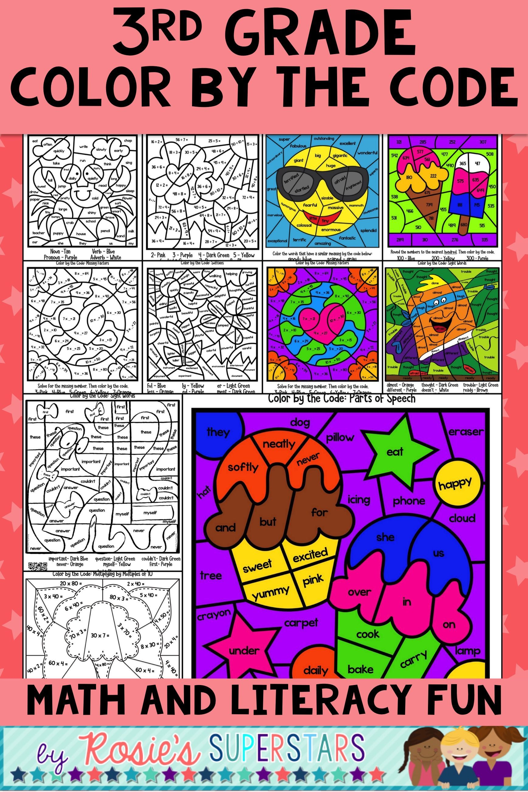 medium resolution of 3rd Grade Math and Literacy Color by the Code Activities   3rd grade math