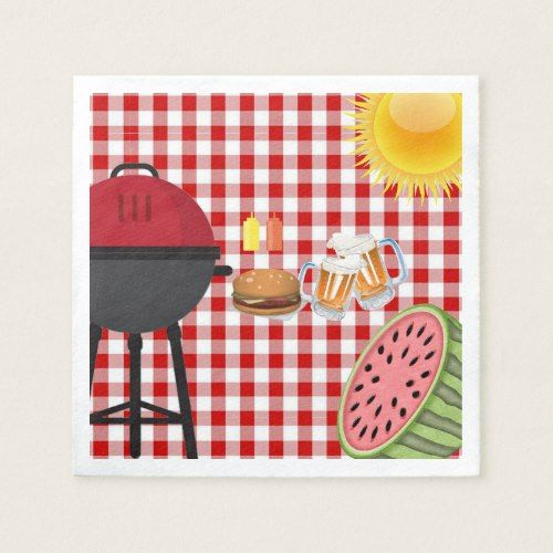 July 4th, BBQ Grill, Watermelon, Burgers and Beer Paper Napkin | Zazzle.com #papernapkins