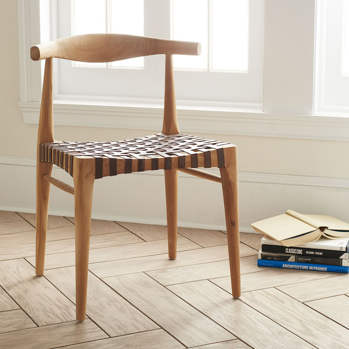 Teak and Woven Leather Chair Ercol dining chairs