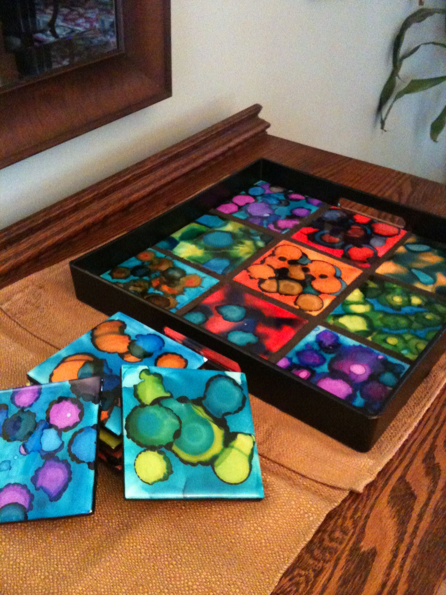 6th grade 2013 - alcohol inks on ceramic tile resin coated ...
