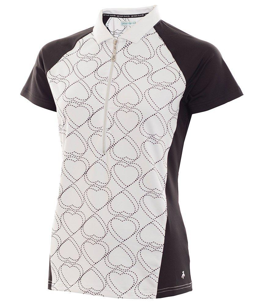 9ae66851b Green Lamb Ladies Patti Raglan Printed Zip Neck Polo Shirt | Green ...