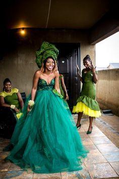Sotho Wedding With The Bride In Green Seshweshwe - South African Wedding Blog