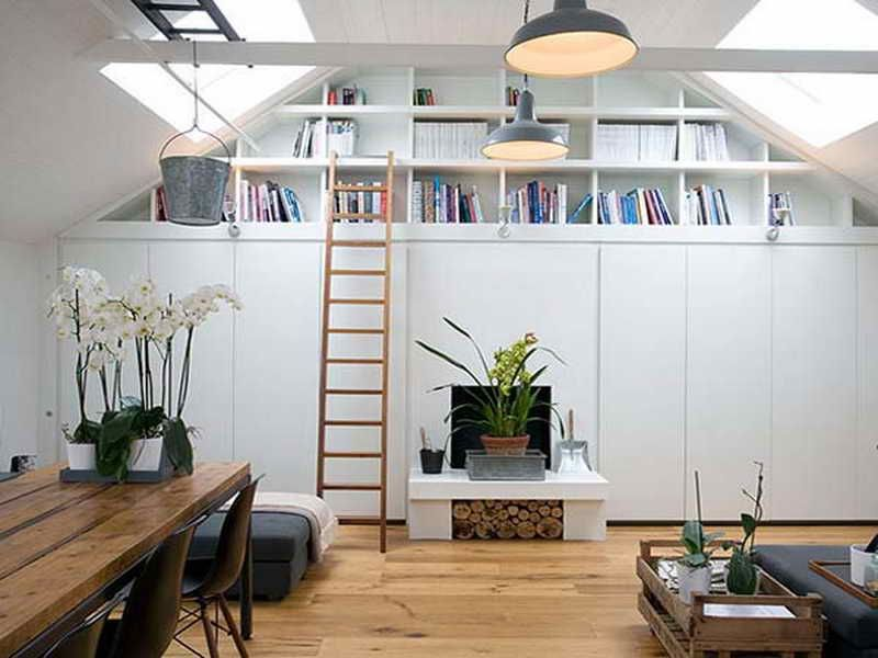 Interior Designs,Nice Garage Conversion Into Home Library With Rustic  Wooden Table, Wall Book