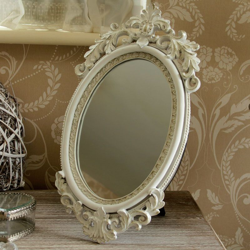 Ivory Ornate Carved Free Standing Vanity Mirror Melody Maison Mirror French Style Mirrors French Style Furniture