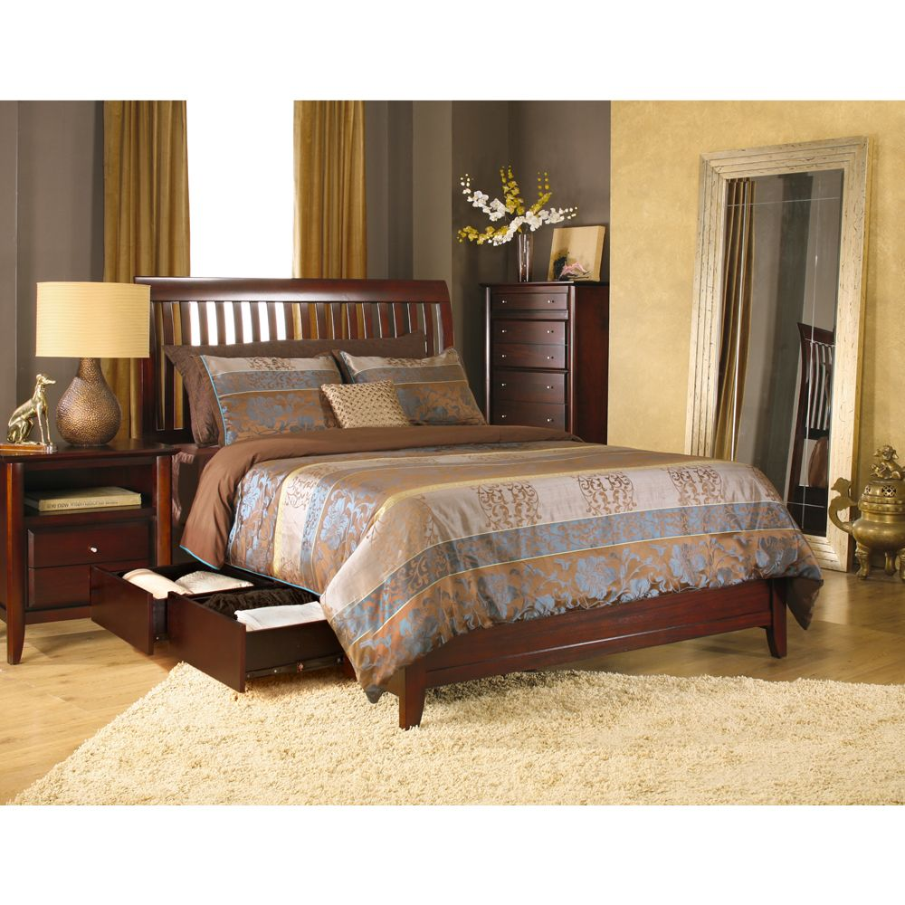 City ii rake platform storage bed by modus furniture wooden
