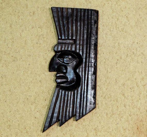 Vintage Wooden Mask, black wooden wall mask, ethnic face mask, old ...