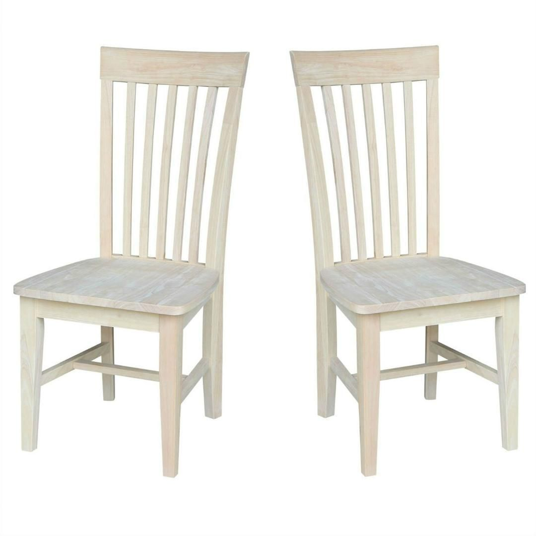 Set Of 2 Mission Style Unfinished Wood Dining Chair With High