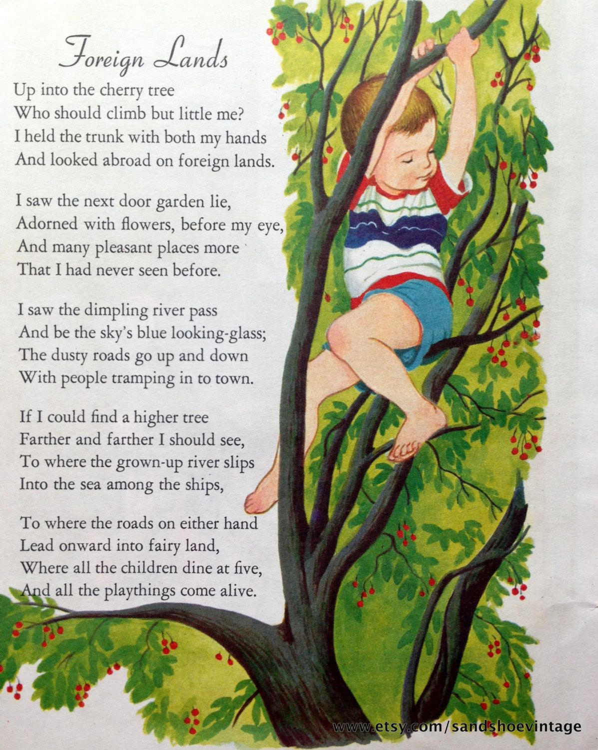 1960s FOREIGN LANDS Singing POEMS Doublesided Print Ideal for ...