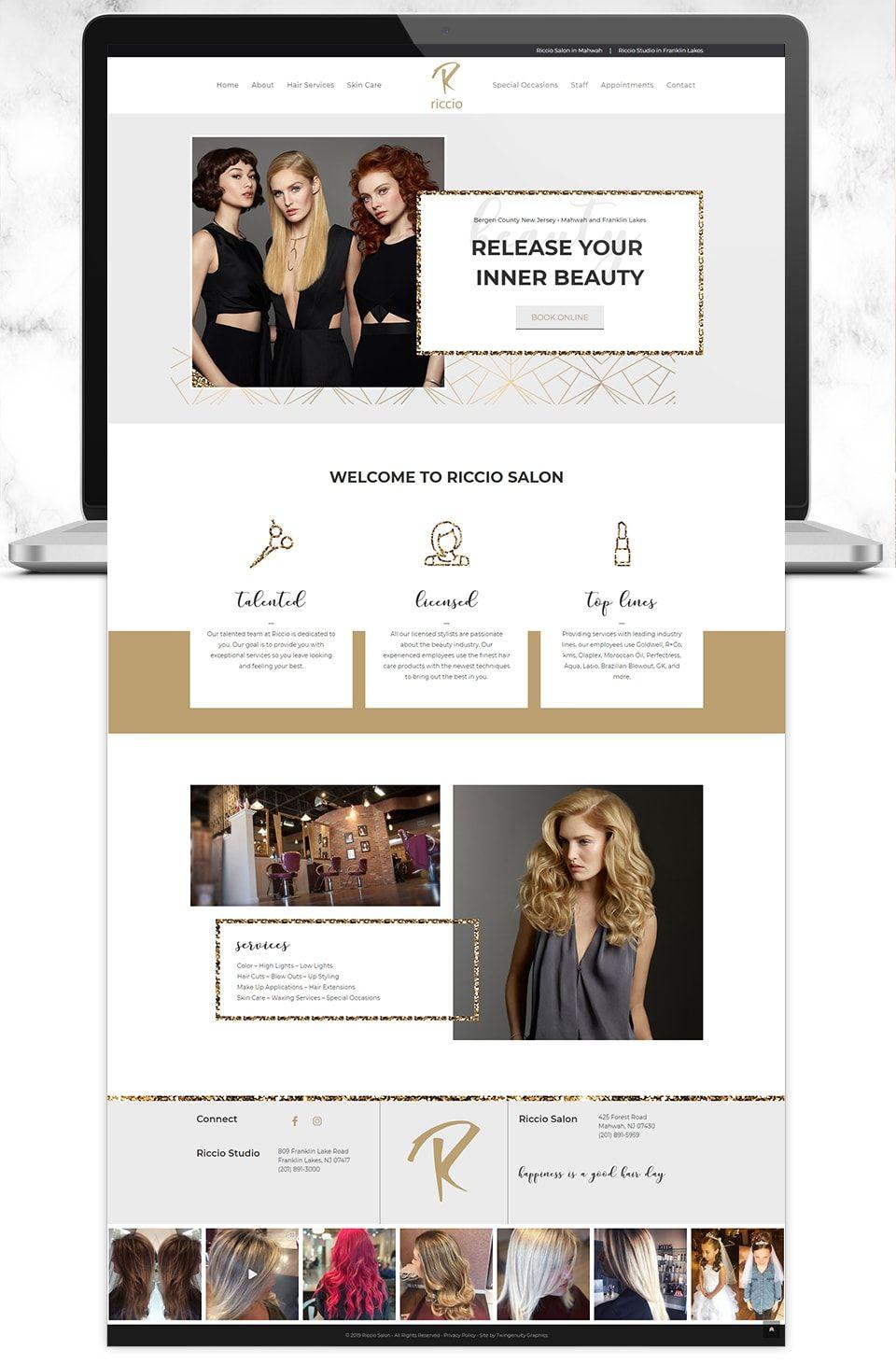 Riccio Salon Studio Web Design Hair Salon Website Design Web Layout Design Minimal Web Design