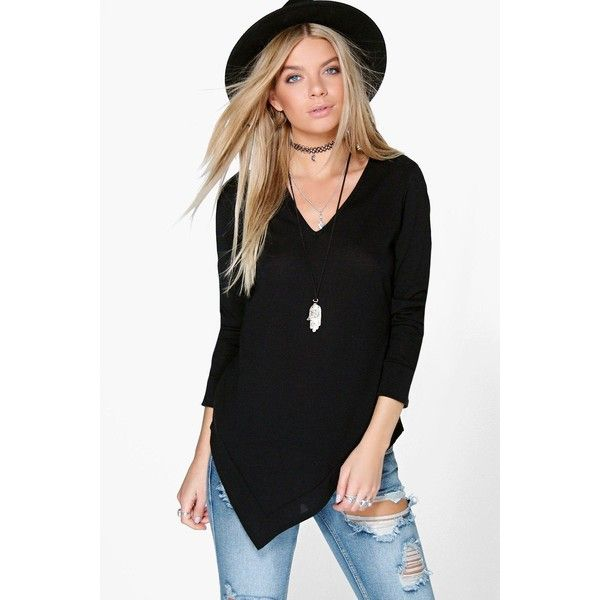 9942b33f7f Boohoo Jasmine Fine Knit Asymmetric Jumper ($20) ❤ liked on Polyvore  featuring tops, sweaters, black, knit sweater, chunky black sweater, black  wrap ...