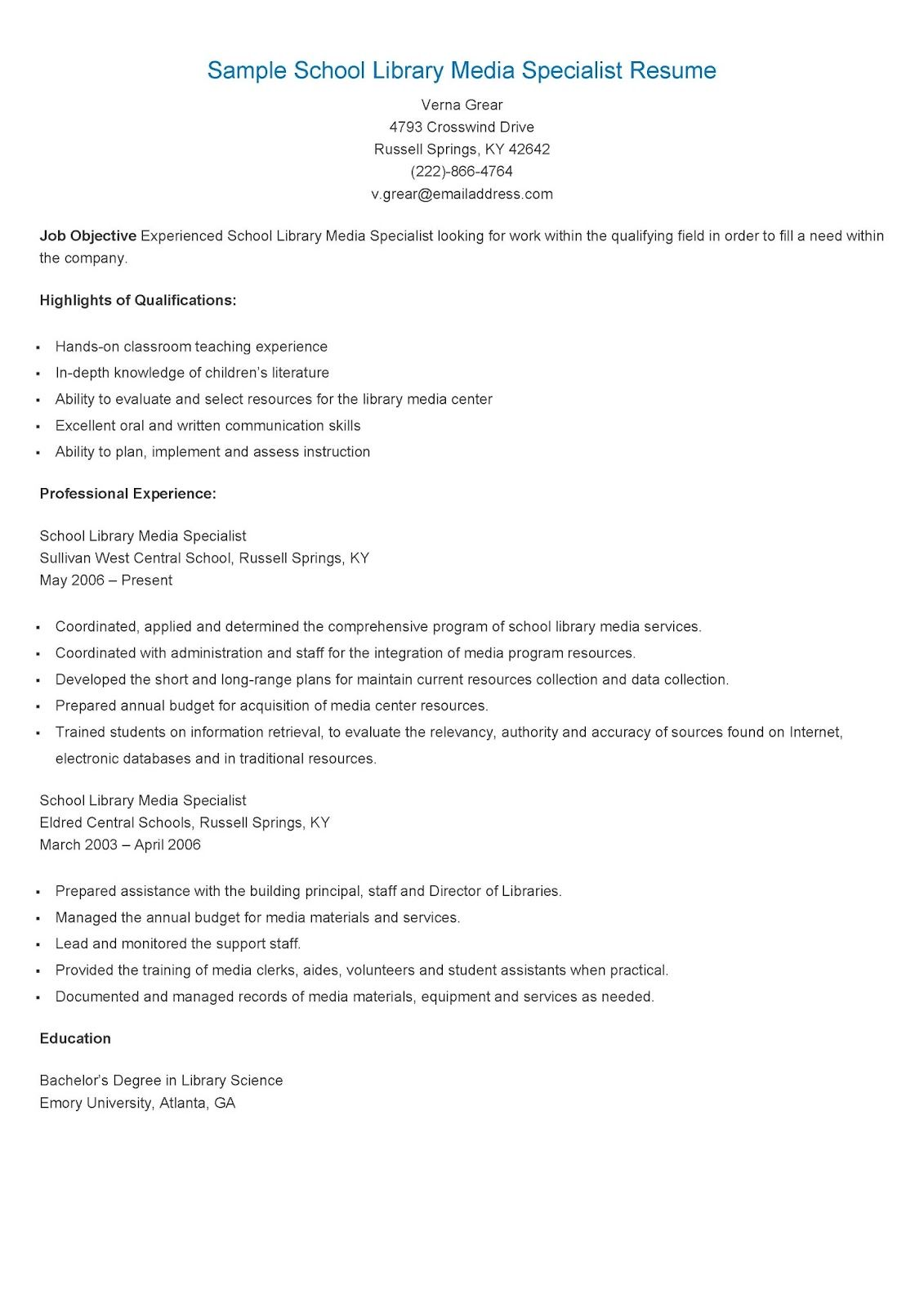 sample school library media specialist resume
