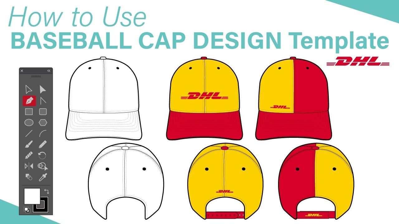 10 Fashion Flat Design Tutorial   How to Use BASEBALL CAP DESIGN template feat. DHL
