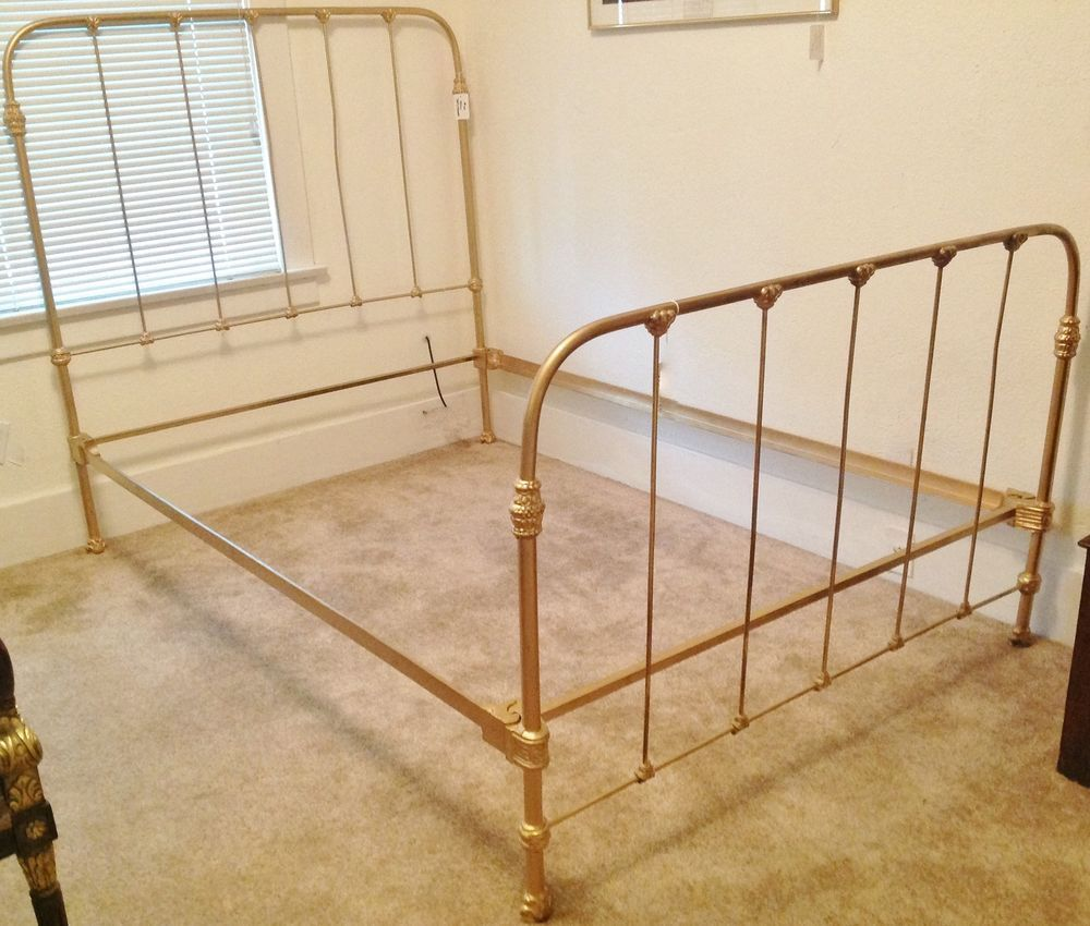 c 1920 Antique Cast Iron Gold Painted Full Bed Frame (With