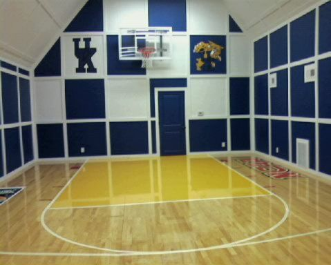 White And Blue Indoor Basketball Court Basketball Workouts Indoor Basketball Court Basketball