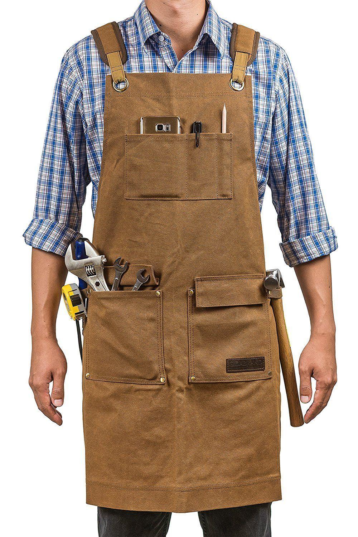 Heavy Duty Work Apron Adjustable Oil Wax Cloth Tool Apron Waterproof Carpenter A
