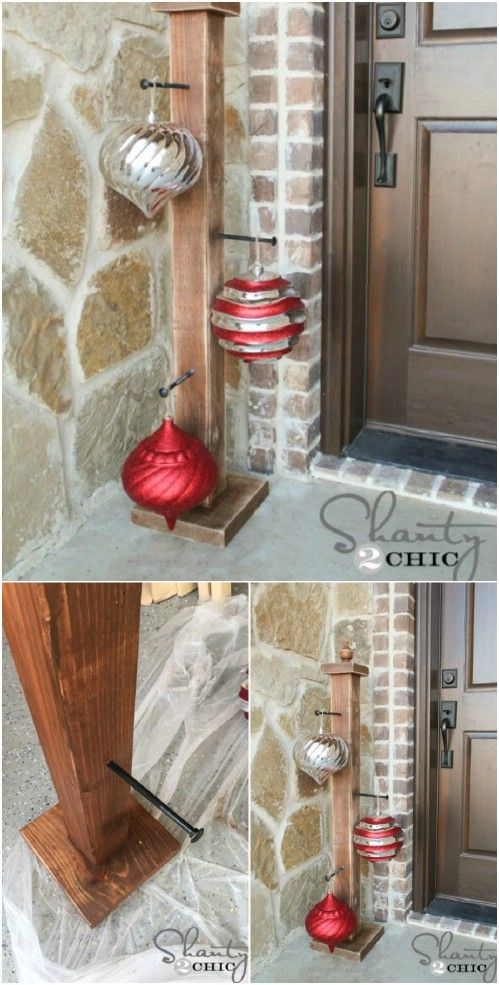 40 rustic christmas decor ideas you can build yourself front front porch ornament stand my porch has to have this but to use all year solutioingenieria Choice Image