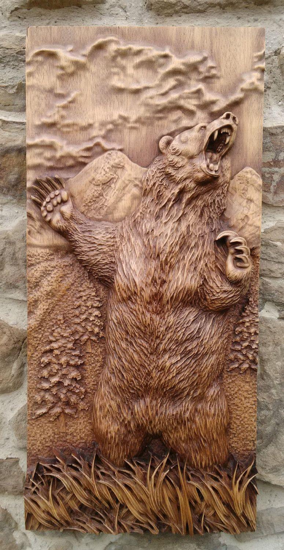 Animal tallada la decoración de la pared de salón rústico de wood