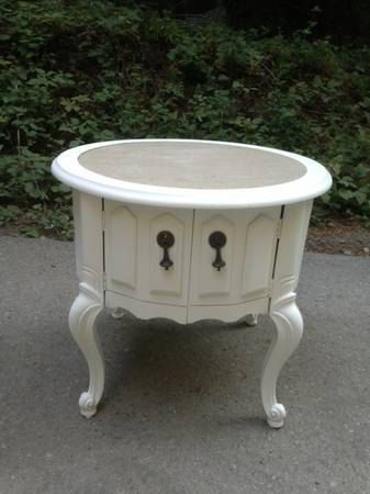 Antique French Provincial Marble Top Side End Table For Bella