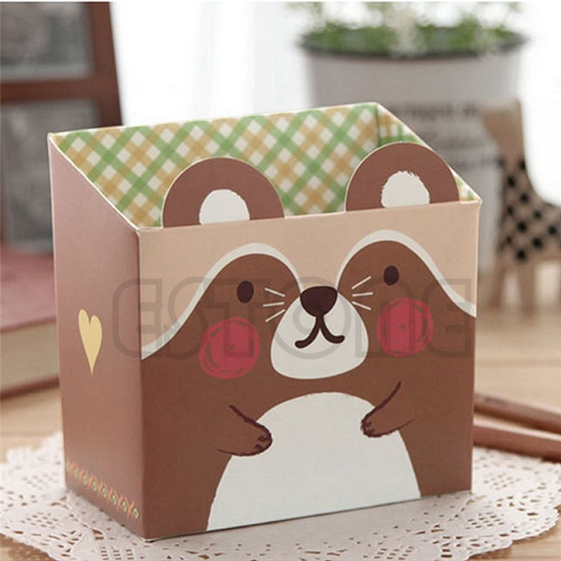 Cute Cat Cartoon Paper Stationery Multifunction Makeup Cosmetic Desk Organizer Storage Box Desktop Cosmetic Makeup Organizer
