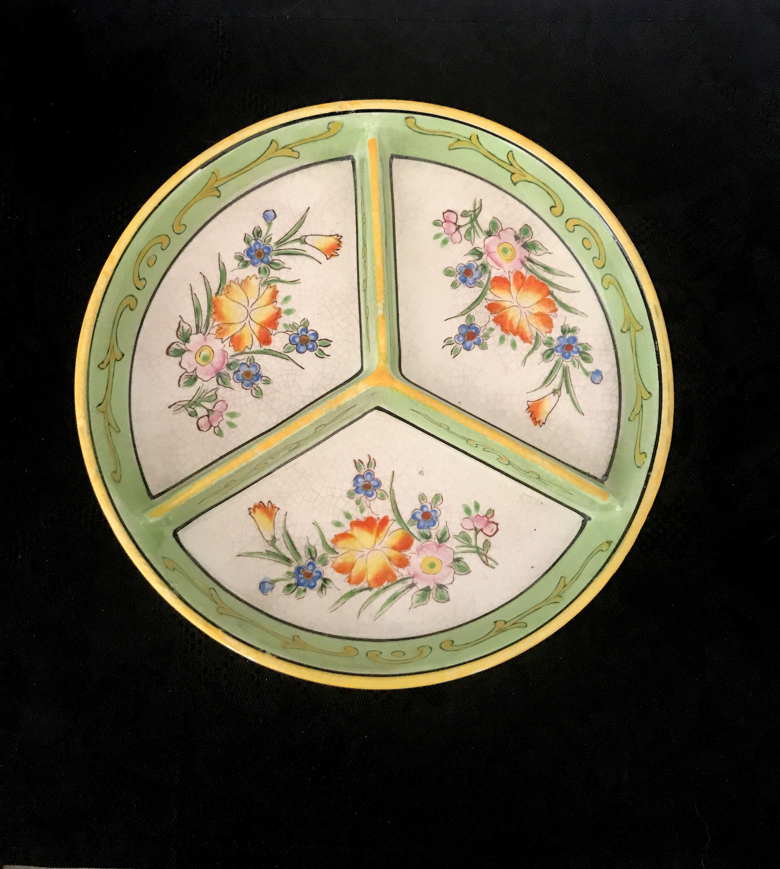 Kitchen ware ceramic divided plate relish dish 'Moriyama Morimach  Japanese hand crafted 1926 - 1929's #kitchenware