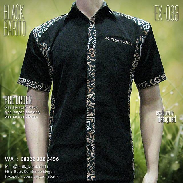 Baju Batik Kombinasi Hitam Kemeja Pakaian Pria Dan Pria