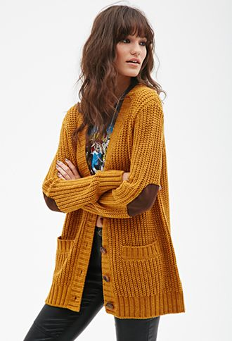 Chunky Knit V-Neck Cardigan | FOREVER21 - 2000101697 in mustard or ...