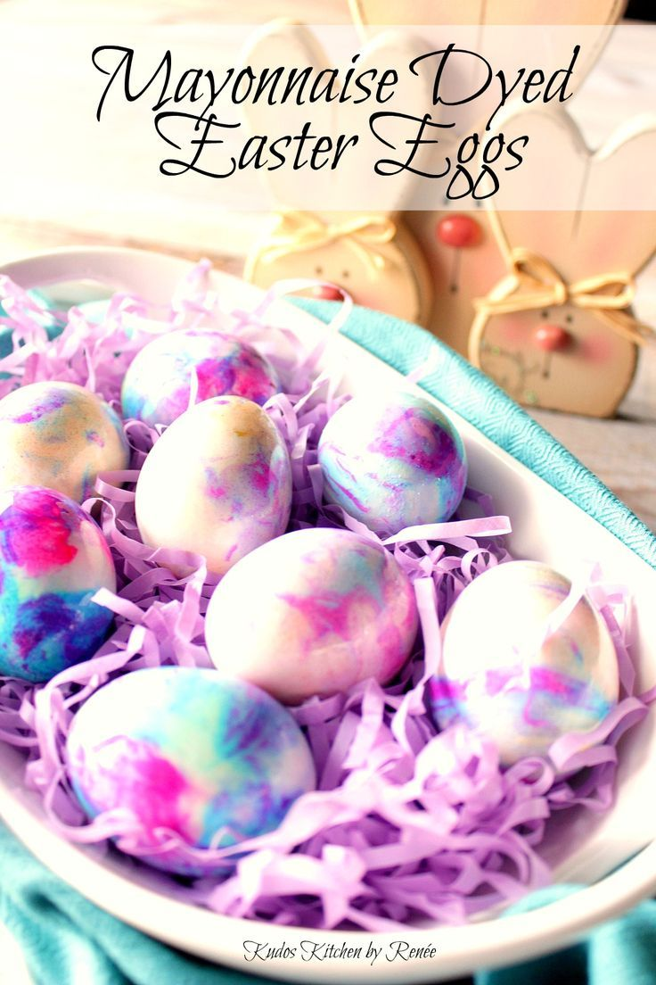 Mayonnaise Tie Dyed Easter Eggs Kudos Kitchen By Renee Tie Dyed Easter Eggs Easter Egg Dye Easter Eggs