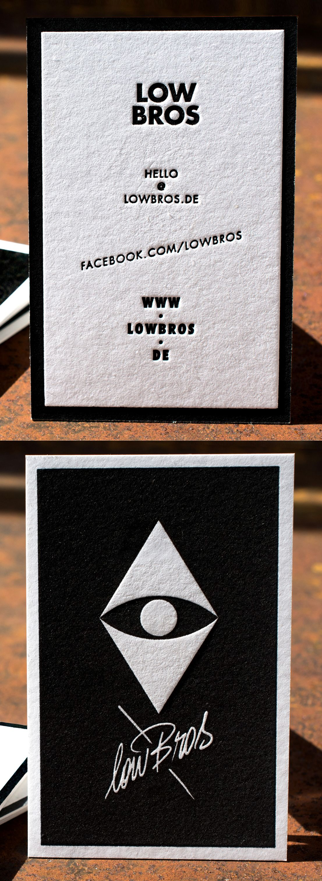 Letterpress Business Card lowBros on 710gsm Metapaper Pure Cotton