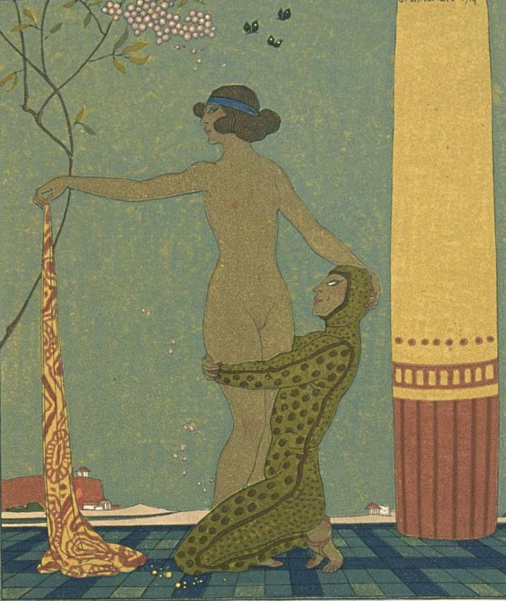 Illustrations By George Barbier 1882 1932 1922 Bilitis Les Chansons De Bilitis Woodcuts By F L Schmied Text By Pierre Illustrators Art Illustration